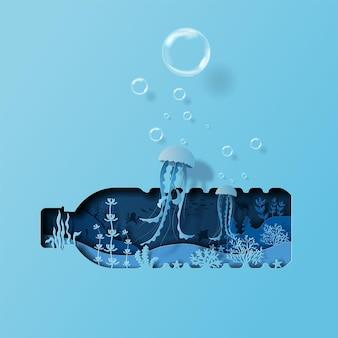 Giornata mondiale degli oceani concetto coppia di meduse che nuotano aiuta a proteggere gli animali e l'ambiente