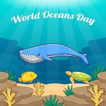 Illustrazione di concetto di giornata mondiale degli oceani