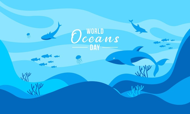 Illustrazione del concetto di giornata mondiale degli oceani