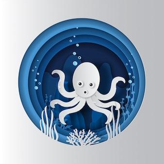 Concetto di giornata mondiale degli oceani, polpo sott'acqua