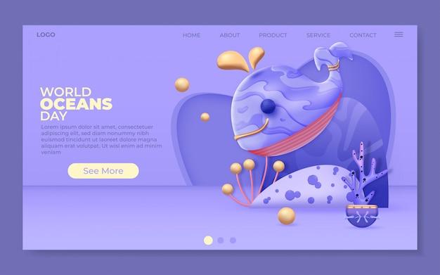 Illustrazione di giornata mondiale degli oceani per landing page