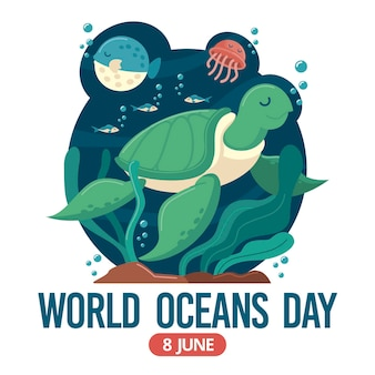 Giornata mondiale degli oceani con tartaruga