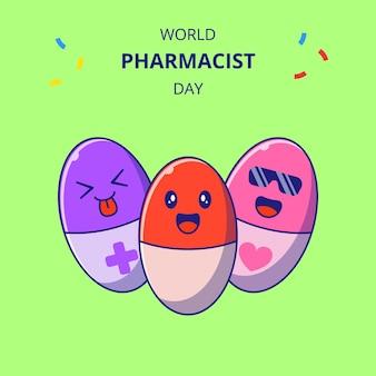 Personaggi dei cartoni animati di capsule carine giornata mondiale del farmacista. insieme della mascotte della droga.