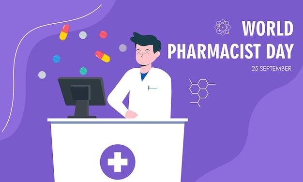 Giornata mondiale del farmacista. concetto di logo medico e pillole