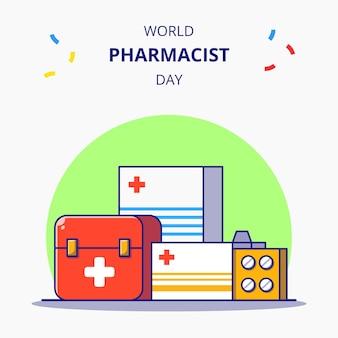 Farmaci per la giornata mondiale del farmacista e illustrazione piana del fumetto della cassetta di pronto soccorso.