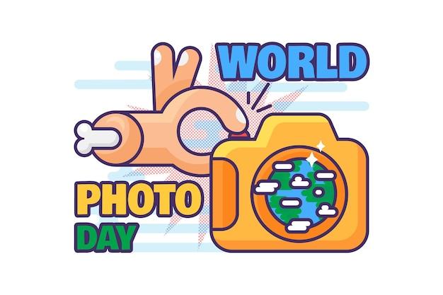 Vettore di festa di celebrazione della giornata mondiale della fotografia. mano che fa foto con il dispositivo della fotocamera digitale. evento festivo internazionale in tutto il mondo. la professione dei media celebra l'illustrazione piatta del fumetto