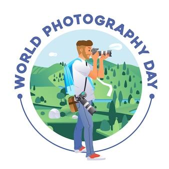 Manifesto della giornata mondiale della fotografia con il giovane che scatta una foto della bellissima illustrazione del paesaggio. utilizzato per poster, immagine del sito web e altro