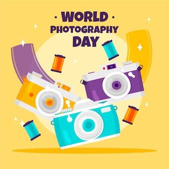 Giornata mondiale della fotografia con molte macchine fotografiche