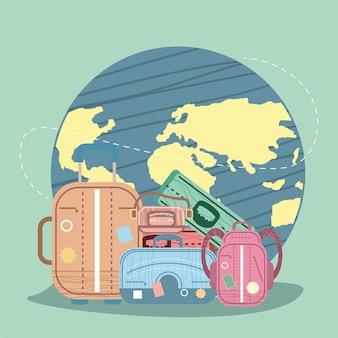 Pianeta mondiale con icone del turismo
