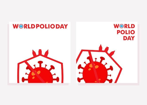 I social media della giornata mondiale della polio pubblicano i post sui social media per il concetto di design della campagna di lotta alla polio