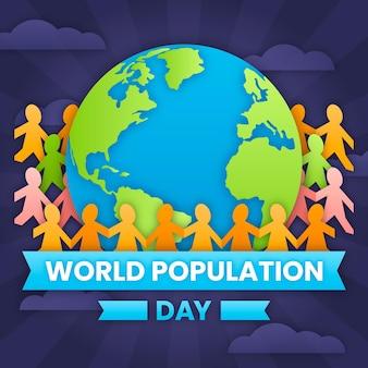 Illustrazione della giornata mondiale della popolazione in stile carta
