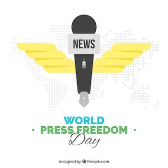 Mondiale della libertà di stampa sfondo giornata con penna a forma di microfono