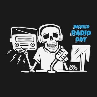Giornata mondiale della radio con il concetto di design del cranio. Vettore Premium