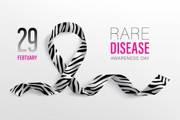 Giornata mondiale delle malattie rare febbraio. nastro con motivo zebrato.