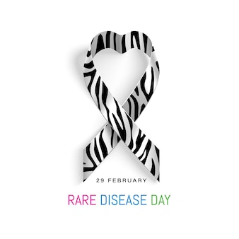 Giornata mondiale delle malattie rare febbraio. nastro con zebra.