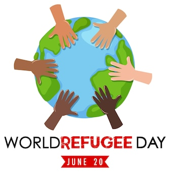 Banner della giornata mondiale del rifugiato con diverse mani sul globo isolato