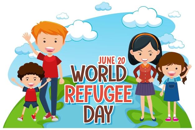 Banner della giornata mondiale del rifugiato con personaggio dei cartoni animati di famiglia