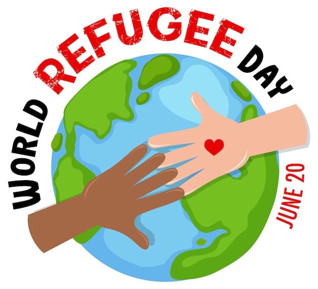 Banner della giornata mondiale del rifugiato con le mani sullo sfondo del globo