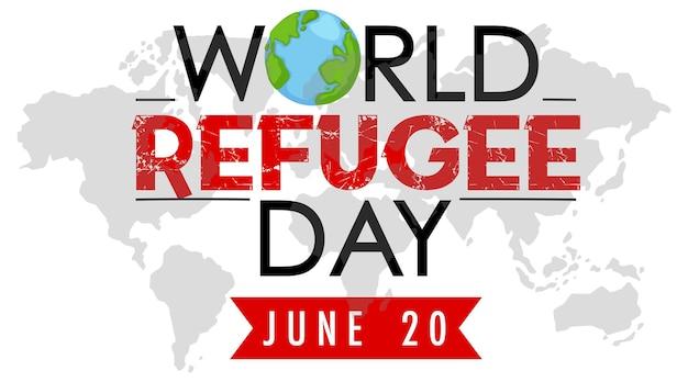 Banner della giornata mondiale del rifugiato del 20 giugno con sfondo della mappa del mondo