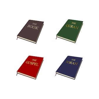 Set di libri sulle religioni del mondo: bibbia, vangelo, corano, torah. islam, cristianesimo, ebraismo scritture religiose.