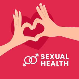 Progettazione dell'illustrazione di giornata mondiale della salute sessuale l'uomo e la donna delle coppie fanno il gesto di mano del segno di amore