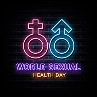 Insegna al neon della giornata mondiale della salute sessuale