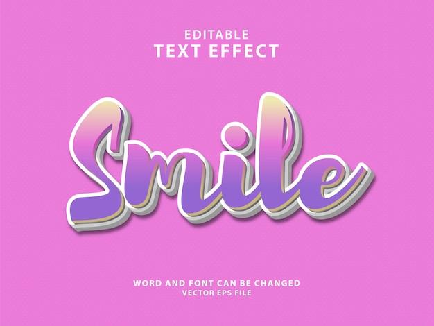 Effetto di testo modificabile 3d per la giornata mondiale del sorriso