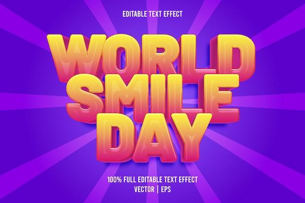 Giornata mondiale del sorriso effetto testo modificabile in stile cartone animato