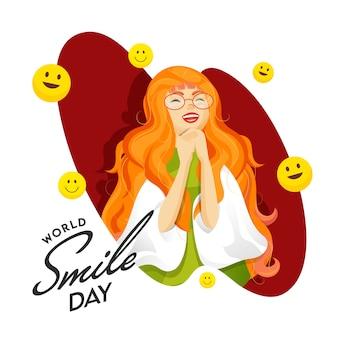 Design di poster per la giornata mondiale del sorriso con carattere di ragazza allegra e emoji sorridente decorati su sfondo bianco e rosso
