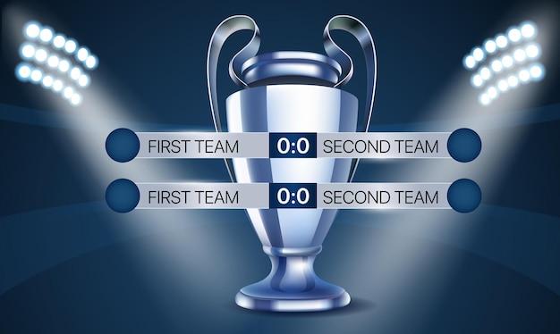 Concetto di campionato mondiale di calcio. tabellone segnapunti con la coppa
