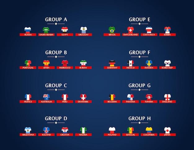 Gruppi mondiali di calcio. schema del torneo di calcio. modello di infografica calcio con bandiere e t-shirt
