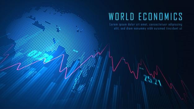 Mercato azionario mondiale o grafico commerciale dei forex nel concetto grafico del fondo