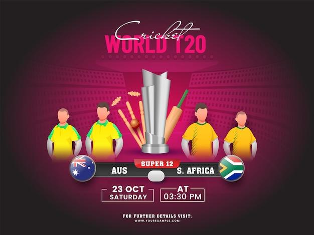 Partita di cricket mondiale t20 della squadra partecipante australia vs sudafrica con attrezzatura da torneo 3d su sfondo rosa scuro dello stadio.
