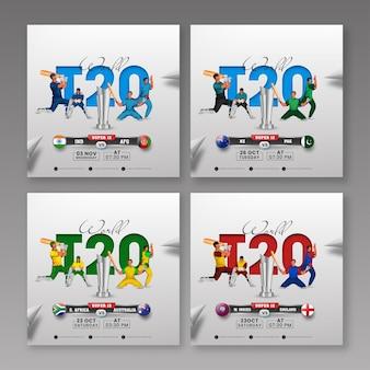 Post sui social media della partita di cricket mondiale t20 con la coppa del trofeo d'oro 3d e i paesi partecipanti in quattro opzioni.