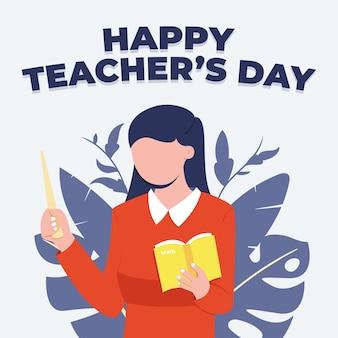 Design piatto del fondo della giornata mondiale degli insegnanti