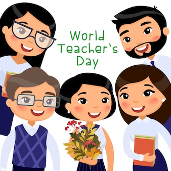 Modello di banner piatto vettoriale giornata mondiale degli insegnanti.