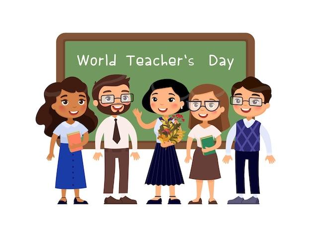 Giornata mondiale degli insegnanti insegnanti in piedi vicino alla lavagna in classe personaggi dei cartoni animati