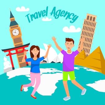 Tour mondiale, vacanze, poster piatto per le vacanze, banner.