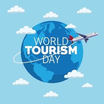 Carta di giornata mondiale del turismo con progettazione dell'illustrazione di vettore del pianeta e dell'aeroplano della terra