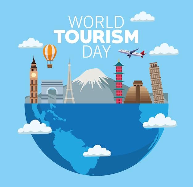 Carta di giornata mondiale del turismo con progettazione dell'illustrazione di vettore dei monumenti e della metà del pianeta terra