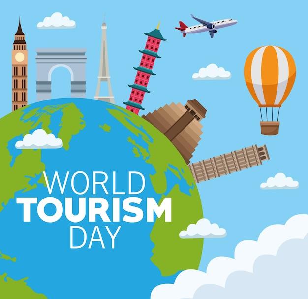 Carta di giornata mondiale del turismo con il pianeta terra e monumenti illustrazione vettoriale design