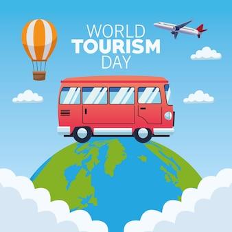 Carta di giornata mondiale del turismo con progettazione dell'illustrazione di vettore del pianeta e del furgone della terra