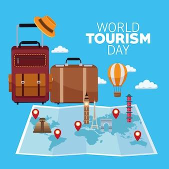 Carta di giornata mondiale del turismo con mappa cartacea e disegno di illustrazione vettoriale valigie