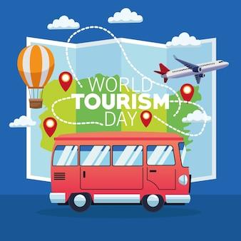 Carta di giornata mondiale del turismo con mappa cartacea e disegno di illustrazione vettoriale di furgone