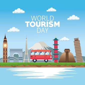 Carta di giornata mondiale del turismo con disegno di illustrazione vettoriale di van e monumenti