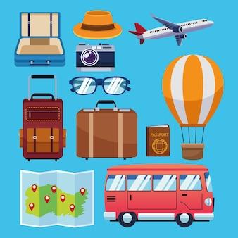 Celebrazione della giornata mondiale del turismo con progettazione dell'illustrazione di vettore delle icone della raccolta dell'insieme