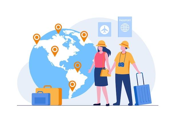 Giornata mondiale del turismo. coppia vacanza viaggio concetto astratto piatto illustrazione vettoriale banner e landing page