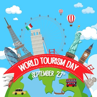 Logo della giornata mondiale del turismo con elementi di famosi monumenti turistici