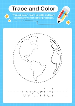 Traccia del mondo e traccia del foglio di lavoro prescolare a colori per i bambini per la pratica delle abilità motorie