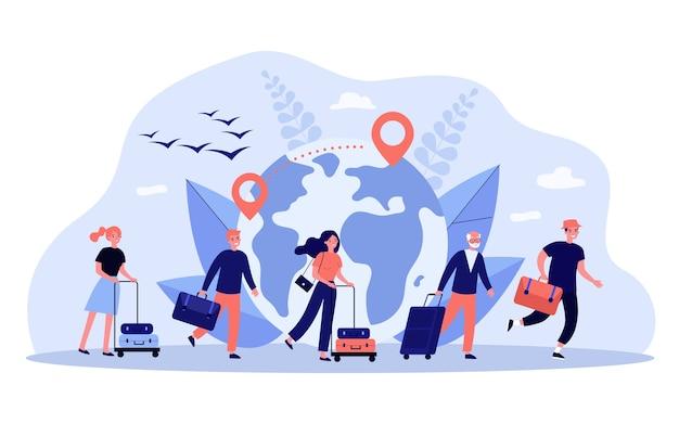 Illustrazione di concetto di viaggio del mondo
